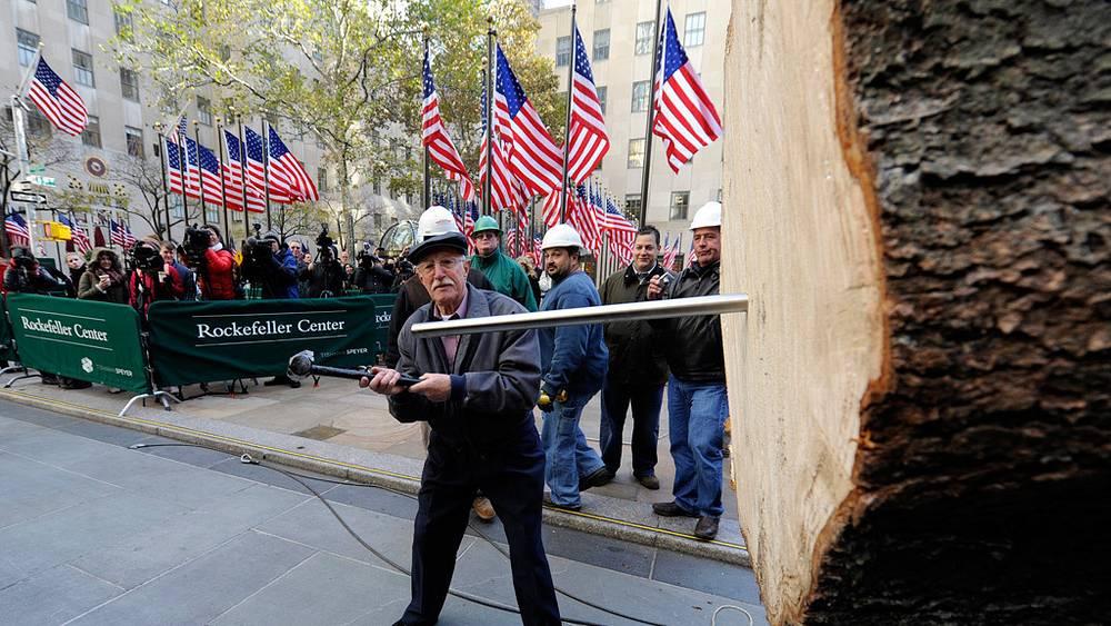 Установка главной рождественской елки США в Нью-Йорке