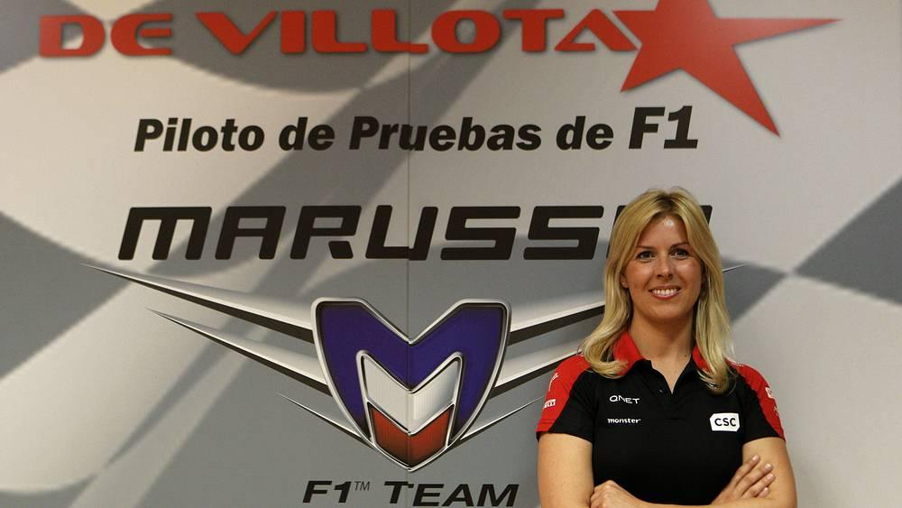 Мария де Вильота во время презентации в качестве пилота тестовых заездов команды «Маруся». Фото EPA/ MONDELO