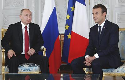 Пресс-конференция Путина и Макрона. Видеотрансляция