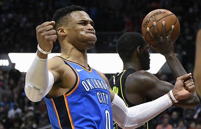 Баскетболист «Оклахомы» Уэстбрук сделал 100-й трипл-дабл в карьере
