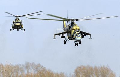 Вертолеты Ми-24 и Ми-8 нанесли ракетно-бомбовый удар на учениях в Сибири