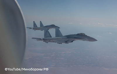 Минобороны показало видео полета Шойгу над Сирией