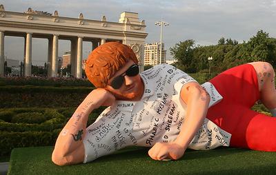 Эд Ширан посетил свою статую в Парке Горького