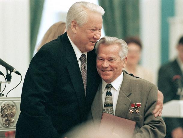 Boris Yeltsyn and Mikhail Kalashnikov, 1998