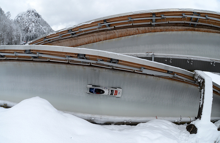 Russian bobsledders in action during the two-men Bobsleigh World Cup in Jan. 2014
