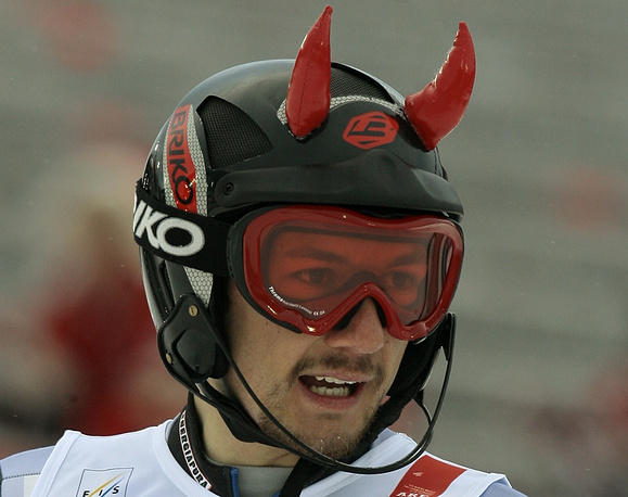 Serbia's Zelimir Vukovic devil shaped helmet surprised the spectators at World Alpine Ski Championships in 2007