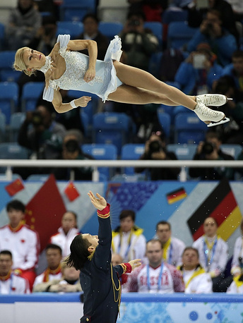 Men were followed on the ice by a short program in pairs where Tatiana Volosozhar and Maxim Trankov of Russia made a spectacular performance