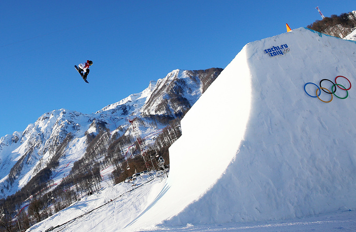 In slopestyle, athletes perform difficult tricks while getting the highest altitude off jumps