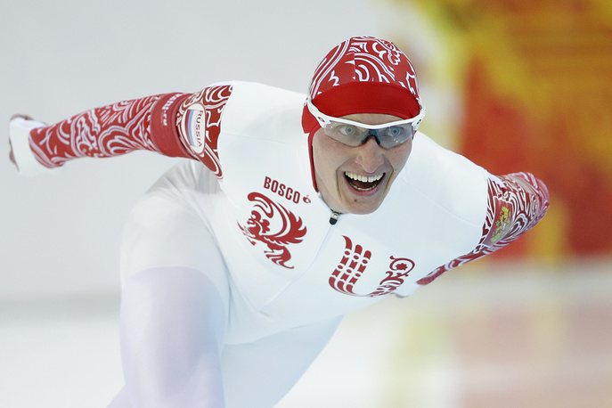Russia's Ivan Skobrev competes in the men's 5,000-meter speedskating race