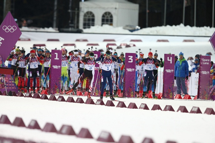Norwegian biathlete Ole Einar Bjorndalen at the start of men's 12.5km pursuit