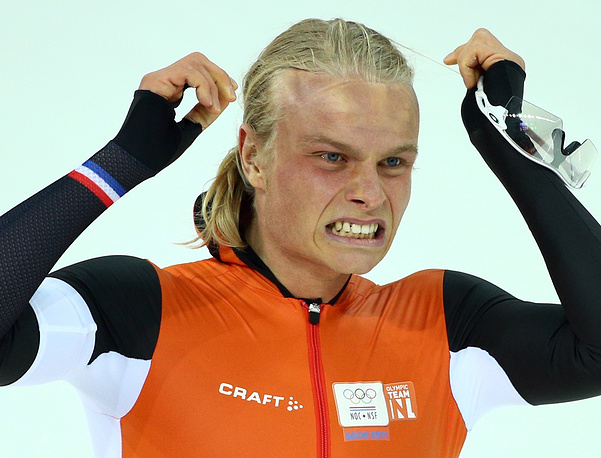 Koen Verweij of the Netherlands reacts after his run during the Men's 1500 m Speed Skating event