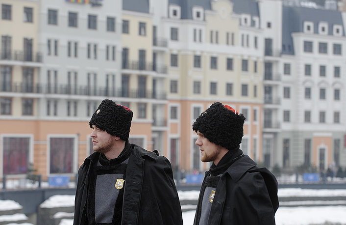 Russian Cossacks on guard at the Rosa Khutor Alpine Resort