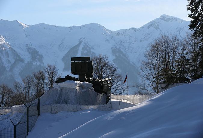 An anti-aircraft artillery of the Russian military is seen near Sochi