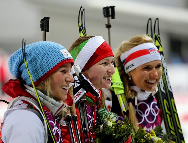 Bronze medalist Tiril Eckhoff of Norway, Gold medalist Darya Domracheva of Belarus and Silver medalist Gabriela Soukalova of the Czech Republic