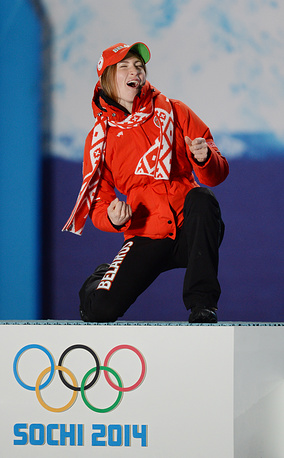 Three-time Olympic champion, gold medalist Darya Domracheva of Belarus