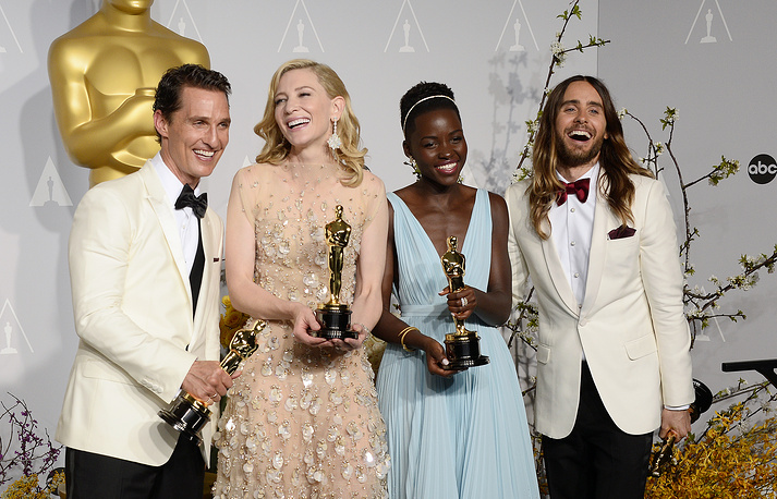 Matthew McConaughey holds the Oscar for Best Performance by an Actor in a Leading Role for 'Dallas Buyers Club', Australian actress Cate Blanchett holds the Oscar for Best Performance by an Actress in a Leading Role for 'Blue Jasmine', Kenyan actress Lupita Nyong'o holds the Oscar for Best Performance by an Actress in a Supporting Role for '12 Years a Slave', and US actor Jared Leto holds the Oscar Best Performance by an Actor in a Supporting Role for 'Dallas Buyers Club'