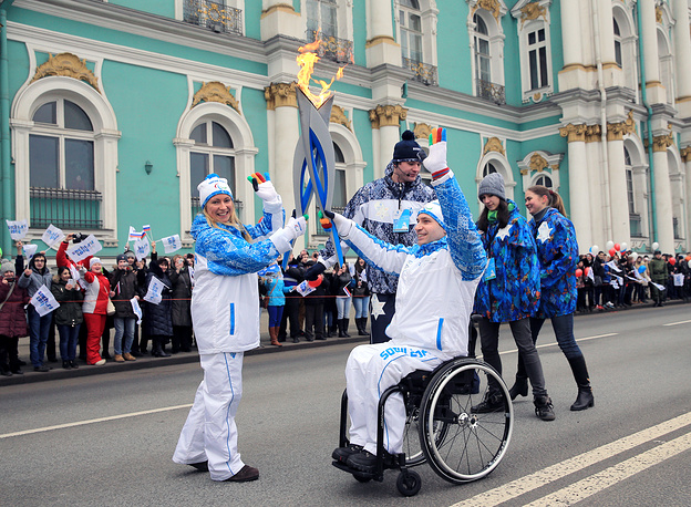 Paralympic torch relay in Saint Petersburg
