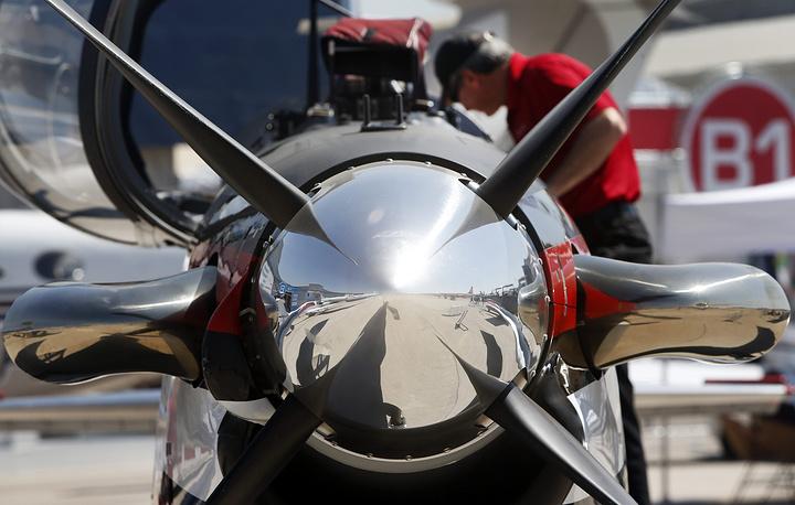 Detail of a T6 Beechcraft aircraft
