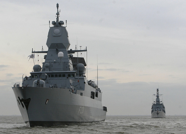 NATO has participated in operations at the coast of the African Horn since 2008. Photo: NATO military ships 'Hamburg' and 'Köln' leaving a base in Germany