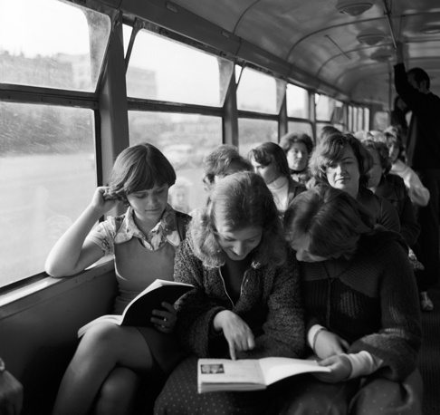 Passengers on a tram in 1979