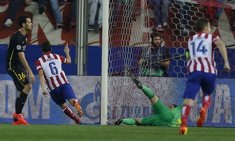 Atletico's Koke celebrates after scoring the opening goal