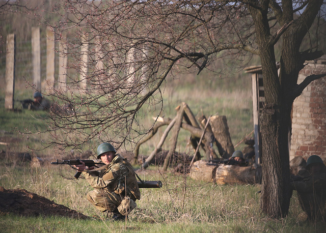 Ukrainian military forces near Kramatorsk air base