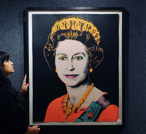 Pop art print by US artist Andy Warhol entitled 'Queen Elizabeth II'