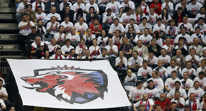 Lev fans unfurl a banner with the logo of their team