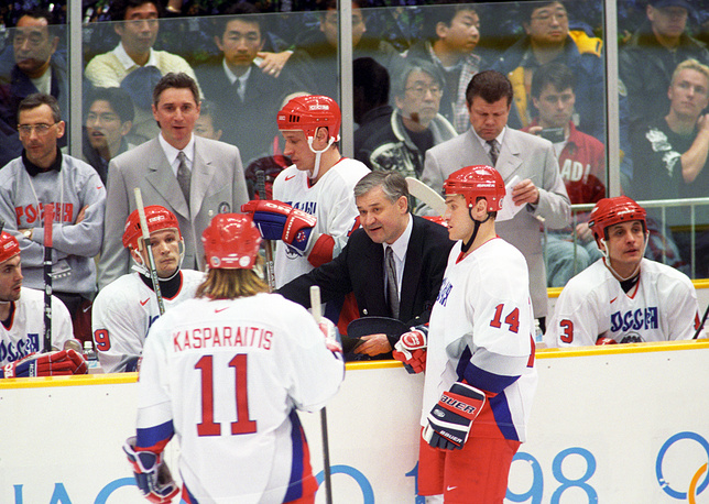 Vladimir Yurzinov started coaching the Russian team at the 1998 Olympics in Nagano where the team won silver medals
