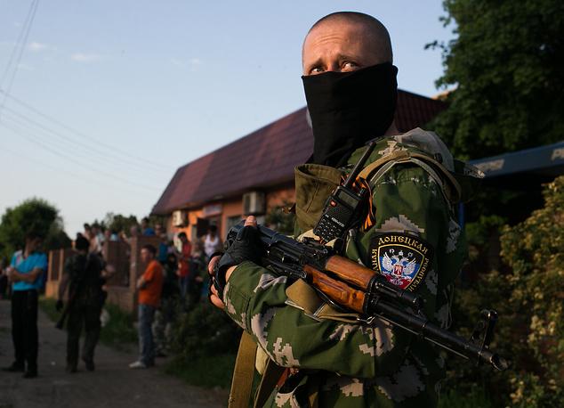 Donbass militia members in Kramatorsk