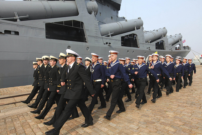 Sailors from the Russian Pacific Fleet's flagship Varyag