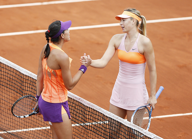 In the quarterfinal Sharapova met Spain's Garbine Muguruza and won 1-6, 7-5, 6-1