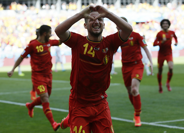 Belgium's Dries Mertens celebrates his 1-2 goal