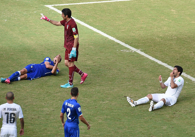 FIFA has launched an inquiry into the incident. If it is established that Suarez really bit Chiellini, he could face disqualification for up to two years as this was not the first instance of the Uruguayan forward's inappropriate behavior