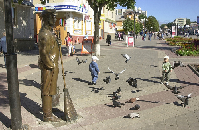 Sculpture of a road sweeper in Belgorod