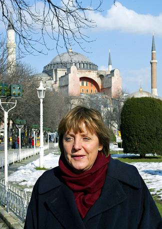 Angela Merkel in Istanbul's old city, Turkey, in 2004