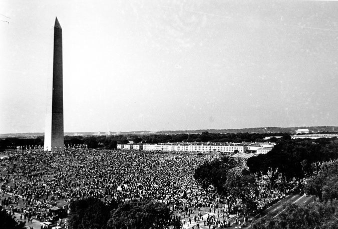 "On August 28, 1963, Martin Luther King delivered his famous speech ""I Have a Dream""  in which he called for an end to racism in the US. Photo: People gathered at the Washington Monument grounds on August 28, 1963"