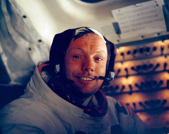 Neil Armstrong inside the lunar module after his historic walk
