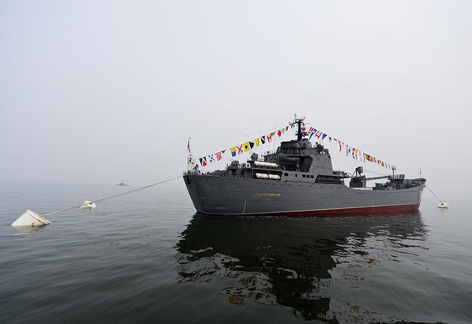 Large landing ship Nikolai Vilkov during Navy Day parade rehearsal in Vladivostok