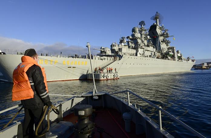 Flagship of Russia's Northern Fleet Kirov-class heavy missile cruiser Pyotr Velikiy