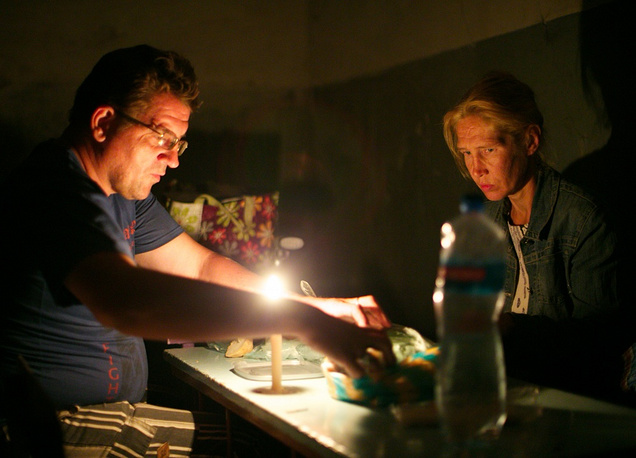 Donetsk citizens in a bomb shelter