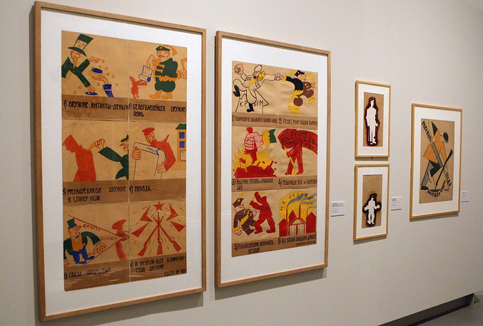 The very first poster was made by Mikhail Cheremnykh. Photo: posters made by Vladimir Matakovsky exhibited at the La Casa Encendida cultural center
