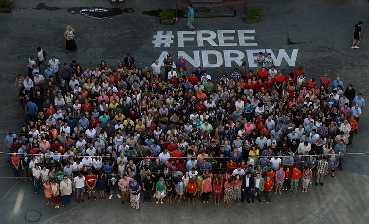 Participants of the #FreeAndrew flashmob in support of the special photo reporter of Rossiya Segodnya news agency Andrei Stenin missing in Ukraine