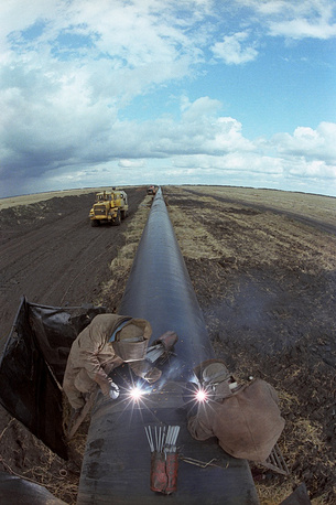 Part of the Urengoy - Uzhgorod gas pipeline in Tambov, 1982