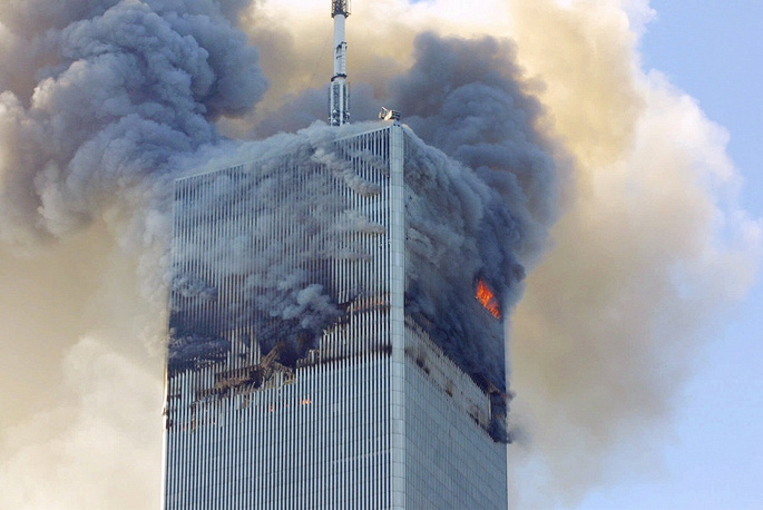 The first plane collided with the northern tower at 08:46 local time. The strike hit the 94-98 floors. The fire lasted for 102 minutes, and the tower fell down at 10:28