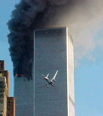 Two passenger planes Boeing 767 collided with the 110-storey twin towers of the World Trade Center