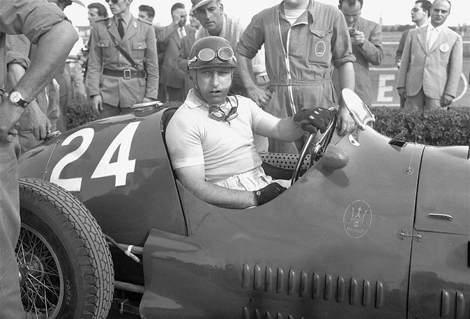 Famous Argentinian driver Juan Manuel Fangio dominated the first decade of Formula One racing, winning the World Championship of Drivers five times. Photo: Juan Manuel Fangio in his Maserati before the Grand Prix of Modena, Italy, September 20, 1953.