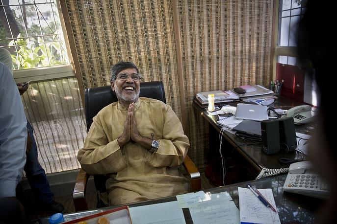 Photo: Indian children's rights activist Kailash Satyarthi, New Delhi, India, October 10, 2014