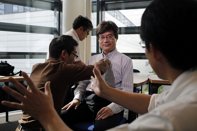 Isamu Akasaki, Hiroshi Amano and Shuji Nakamura won the 2014 Nobel Prize in Physics for discovering blue-light emitting diodes. Photo: Prof. Hiroshi Amano is being prepared for an interview with a Japanese television crew, Grenoble, France, October 08, 2014