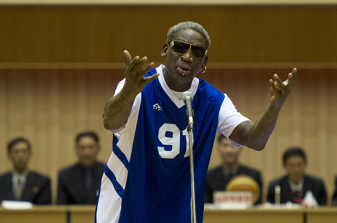 "Dennis Rodman who won the NBA Defensive Player of the Year Award twice is well-known for his image of a bad guy and ""hoops diplomacy"" with North Korea's Kim Jong-un. Dennis Rodman was arrested several times, charged with domestic violence. Photo: Dennis Rodman sings Happy Birthday to North Korean leader Kim Jong Un, Pyongyang, North Korea, January 8, 2014"